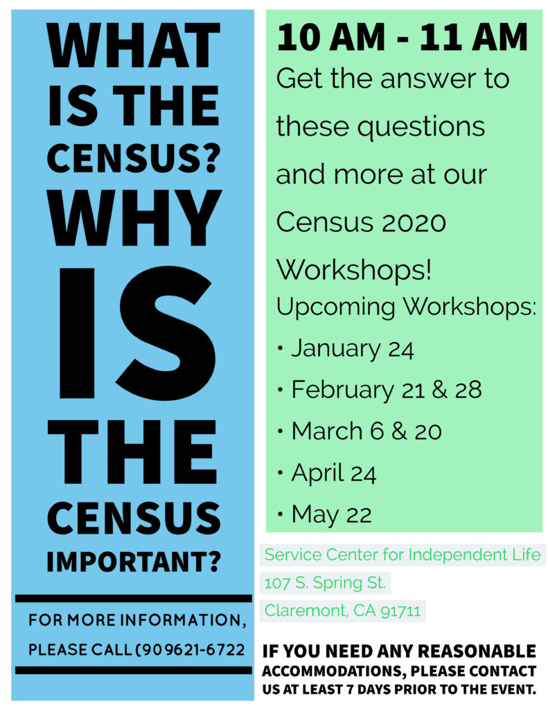 Census Workshops 2020 call us for dates